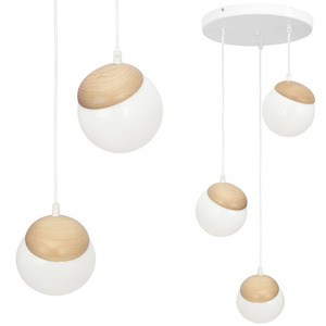 Sphere Wood White Lamp 3x E14 small 0