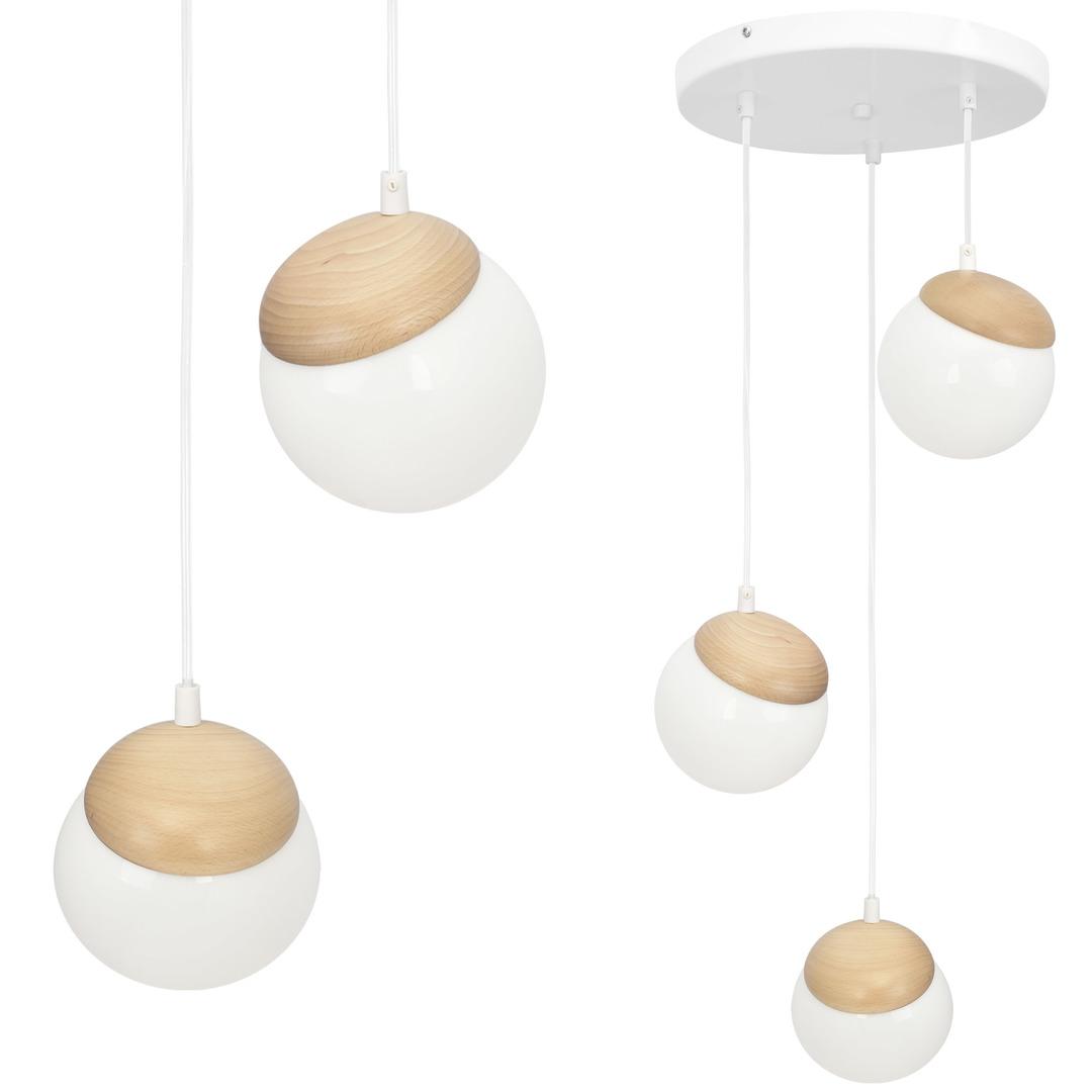 Sphere Wood White Lamp 3x E14