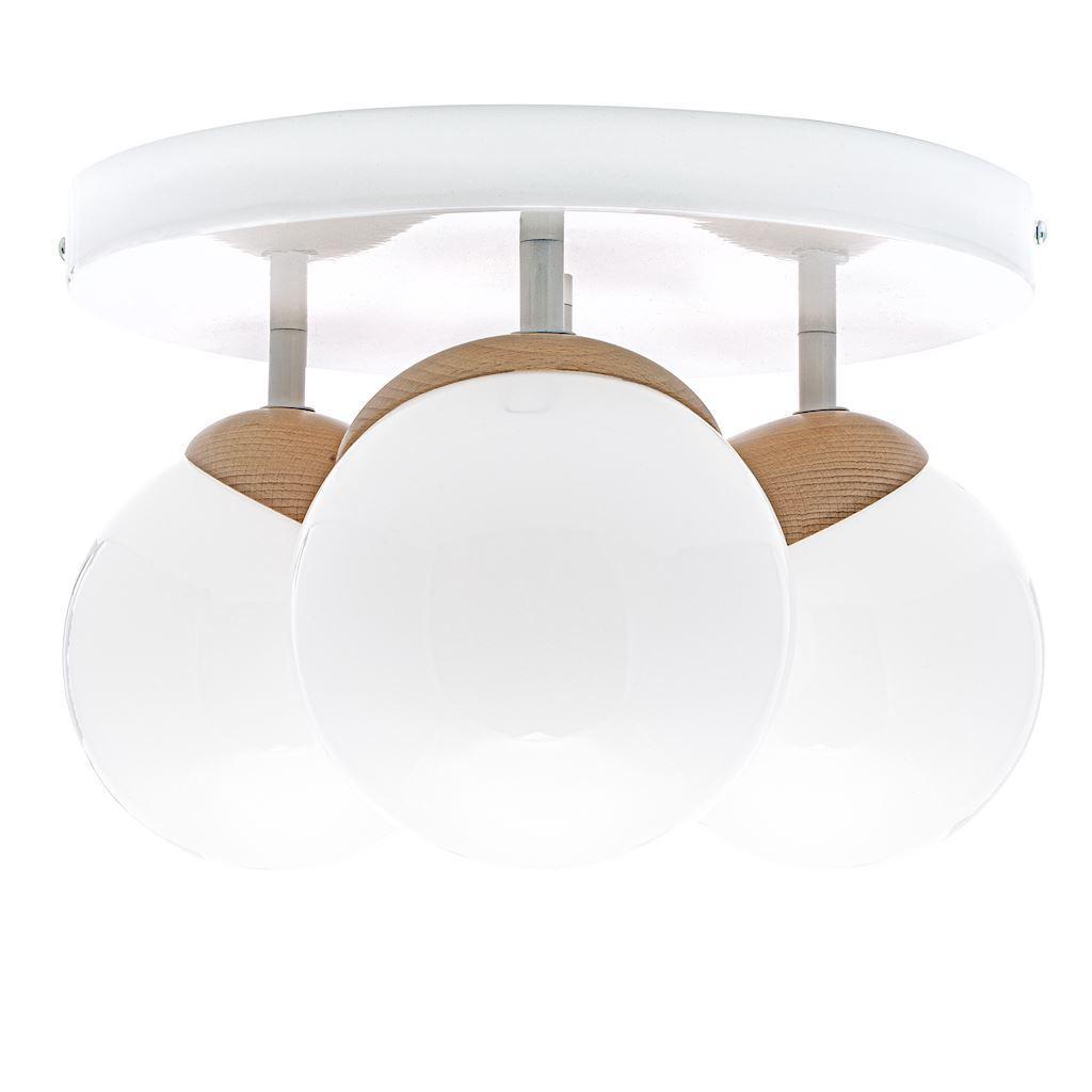 Sfera Wood White Ceiling Lamp 3x E14