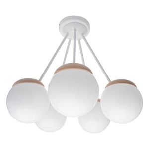 Sfera Wood White Ceiling Lamp 5x E14 small 2