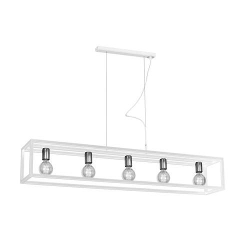 White Hanging Lamp Cage White 5x E27