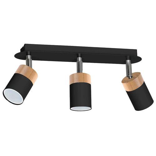 Black Ceiling Lamp Joker Black / Wood 3x Gu10