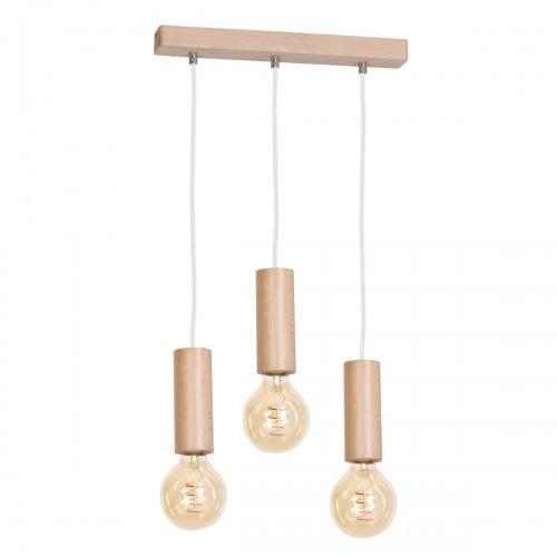 Hanging lamp Milagro BOSCO 613 Natural wood 3xE27 40W