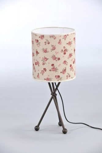 Shabby Chic Bedside Lamp Roses Roller BROWN