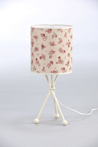 Night Lamp in Shabby Chic Roses with a Cylindrical Shape