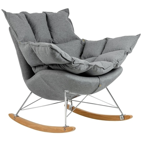 Dark gray SWING rocking chair - fabric, steel, beech wood