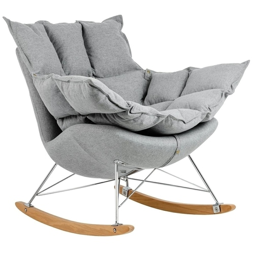 Swing rocking chair light gray - fabric, steel, beech wood