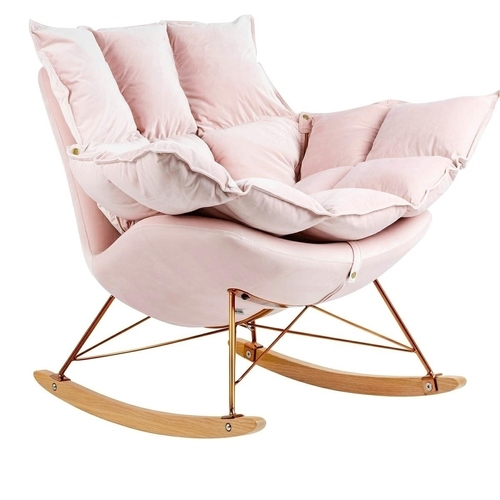 Rocking chair SWING VELVET light pink - velor, copper base, beech wood
