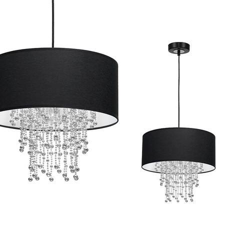 Black Hanging Lamp Almeria Black / Chrome 1x E27