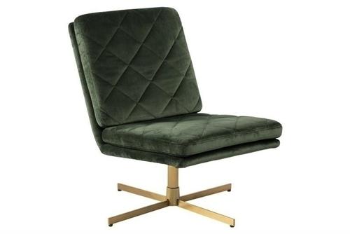 ACTONA swivel armchair CARRERA dark green - velor, golden base