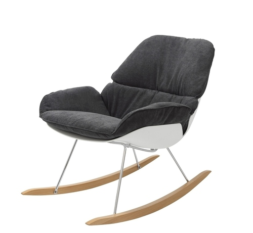 NINO rocking chair dark gray - dark gray fabric, beech runners