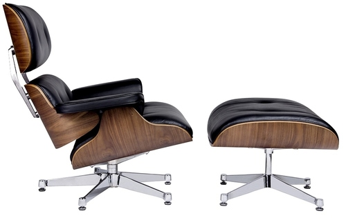 LOUNGE VA PREMIUM WIDE black armchair with a footrest - plywood, natural leather