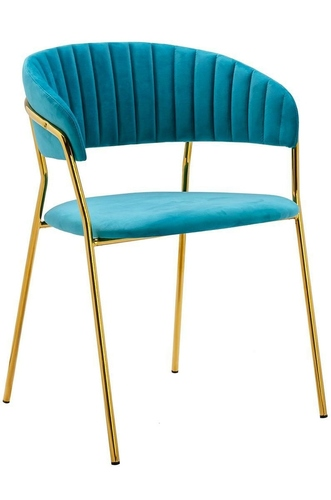 MARGO turquoise chair - velor, gold base