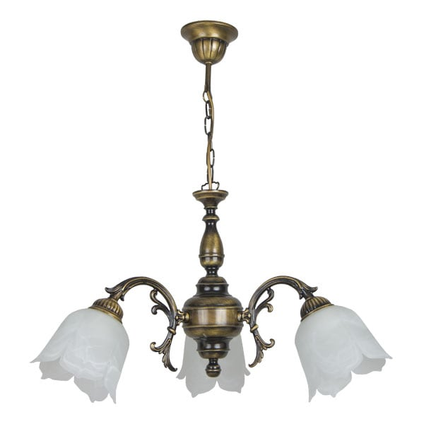 FLOWERS 3-arm chandelier (patinated)