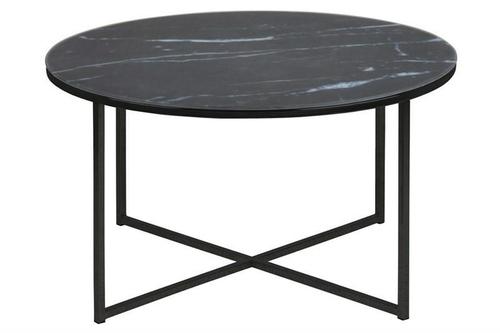 ACTONA table ALISMA 80 - glass, black legs