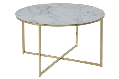 ACTONA TABLE ALISMA 80 - glass, golden legs
