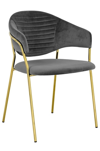NAOMI dark gray armchair - velor, gold base