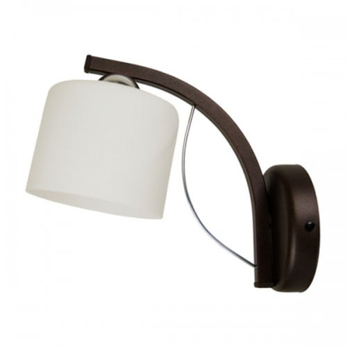 Wall lamp Colin brown arm, white lampshade