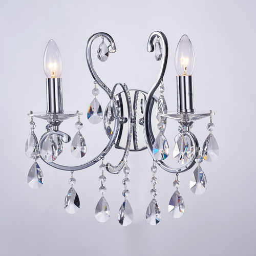 Black Classic Wall Lamp with Barocco Chrome E14 Crystals 2-point