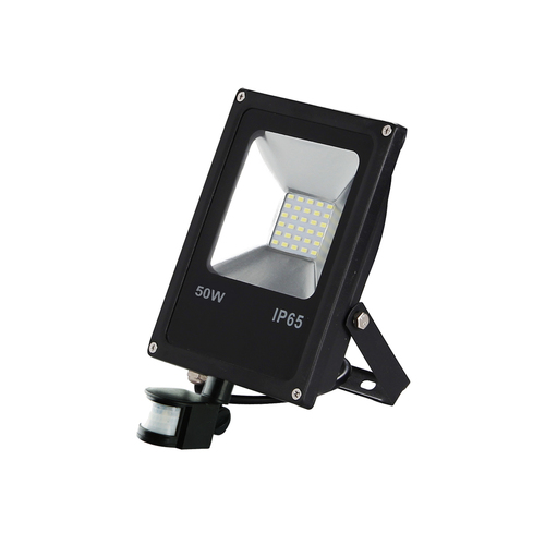 Black LED floodlight 50 W. Color: 6000 K. Pir