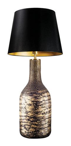Table lamp with lampshade Famlight Alor black & Gold Shiny E27 60W
