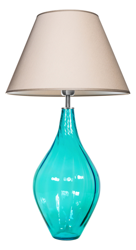 Glass table lamp Borneo Baltic Green Famlight beige / white E27 60W