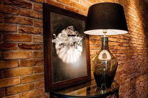 Ceylon S Gray Famlight E27 60W dresser lamp, hand-made small 4