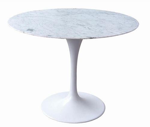 TULIP MARBLE 100 CARARRA table white - round marble top, metal