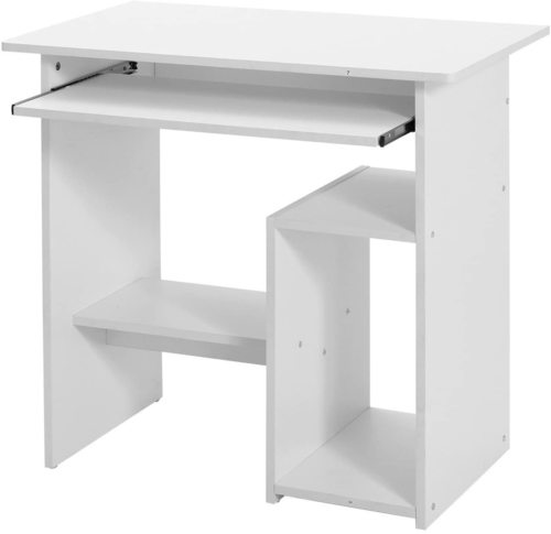 White computer desk with a pull-out shelf LCD852W Songmics