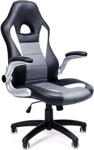Office chair with headrest and adjustable black / white / gray OBG28G Songmics