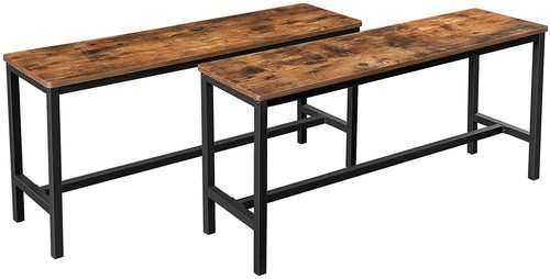 Set of 2 rustic brown loft benches KTB33X