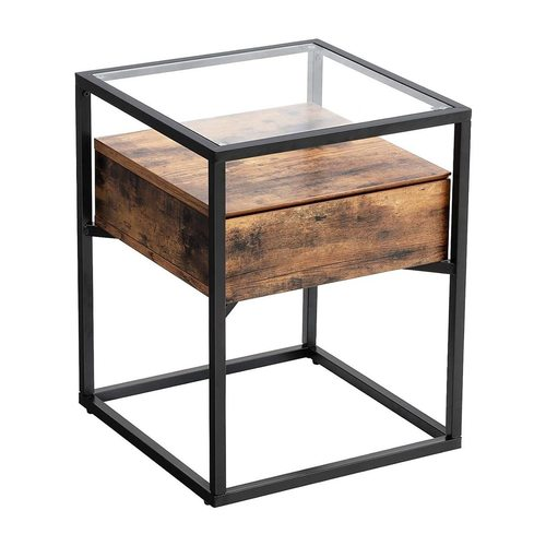 Glass coffee table with drawer LET04BX