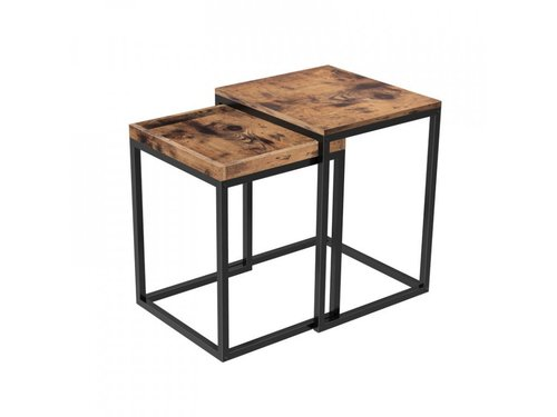 Set of 2 Rustic Brown Coffee Tables LNT02BX