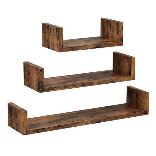 Set of 3 U shelves, Rustyclic Brown LWS36BX