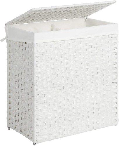 White rattan LCB52WT laundry basket
