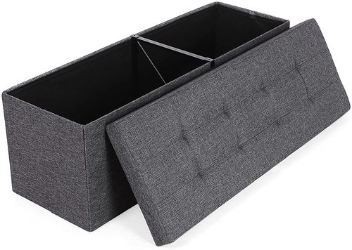 Folding pouffe with storage dark gray LSF77K