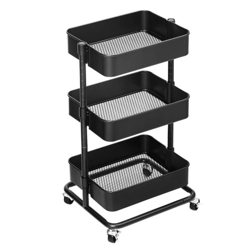 Black kitchen trolley with wheels BSC60B Songmics