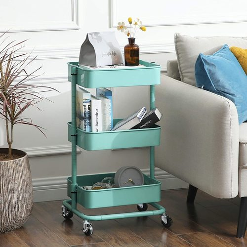 Cabinet on wheels in mint color BSC60M Songmics