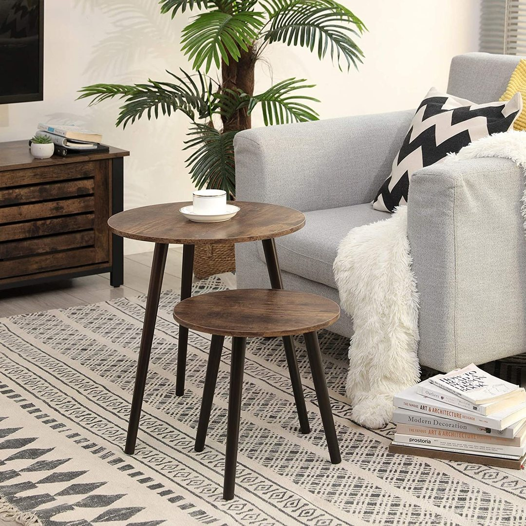 Set of 2 coffee tables rustic brown LET07BX
