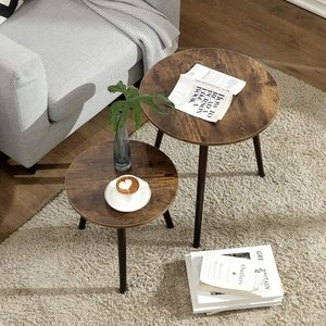 Set of 2 coffee tables rustic brown LET07BX small 3