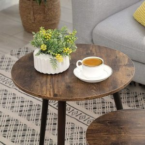 Set of 2 coffee tables rustic brown LET07BX small 4