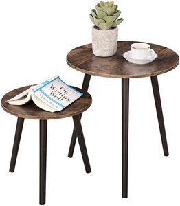 Set of 2 coffee tables rustic brown LET07BX small 7