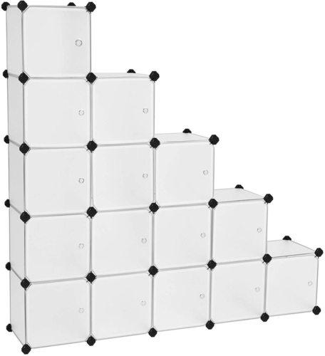 Modular white bookcase LPC44BS Songmics