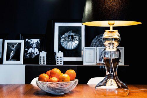 High table lamp Flores Transparent E27 60W black / silver mat