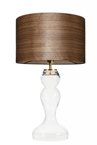 Glass table lamp Flores Transparent WOOD WALNUT E27 60W brass