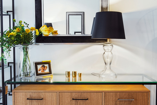 Table lamp black Flores Transparent matt gold E27 60W