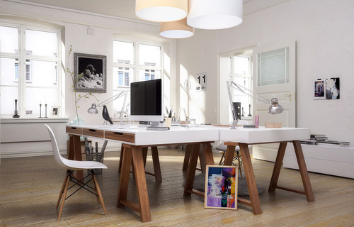 Elements 60W E27 ceiling lamp cream / white / beige for the office, velor