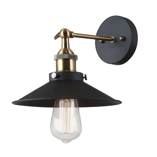Black Kermio E27 wall lamp