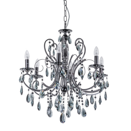 Classic Black 6-bulb Barocco Black E14 Chandelier with Crystals