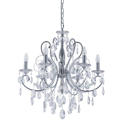 Classic 6-bulb Barocco Chrome E14 Chandelier with Crystals